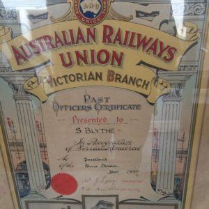 Australian Railways Union Certificate