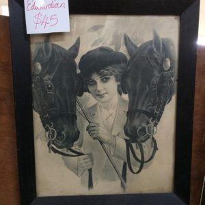Edwardian horses and rider print