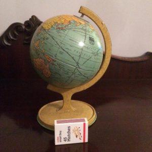 Tin world globe map c1930