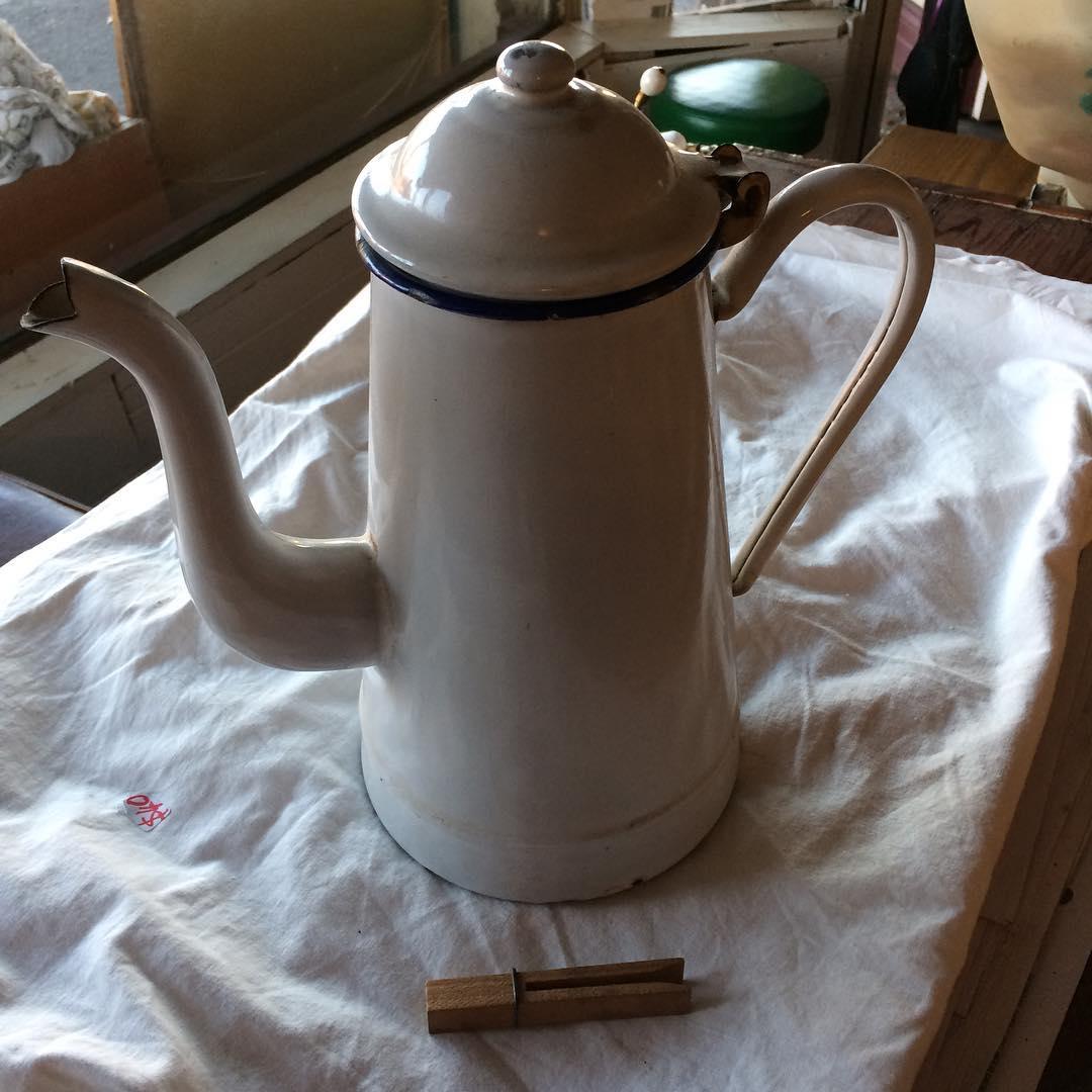 Blue and white vintage enamel coffee pot